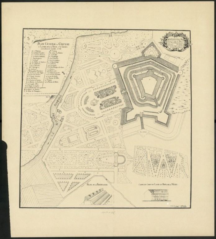 План замку і парку 1734 року