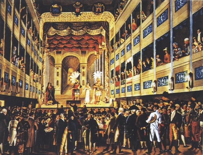 Перший Львівський театр у приміщенні колишнього монастиря францисканців. Малюнок Герштенбергер 1805 року