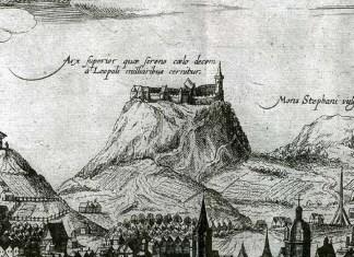 Фрагмент гравюри панорами Львова 17 століття із зображенням Замкової гори