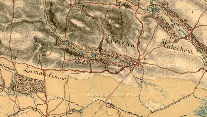 Збоїща на мапі XVIII-го століття, створеній австрійським обер-лейтенантом Фрідріхом фон Мігом у 1779-1782 роках Джерело: https://uk.wikipedia.org