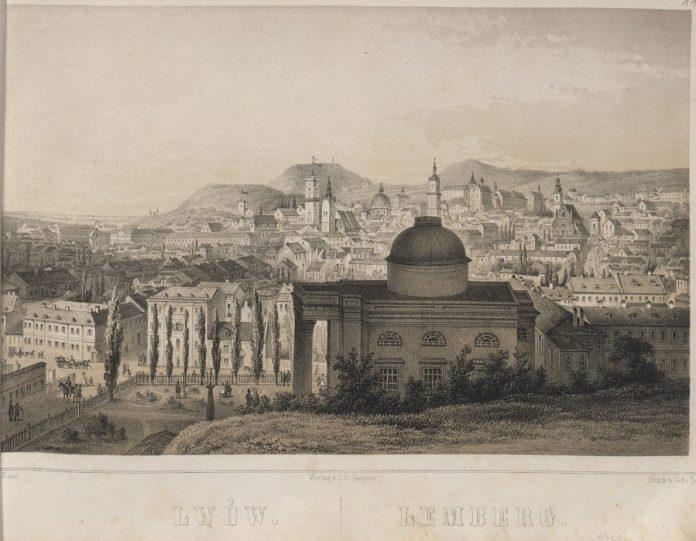 Вид з гори Шембека на Оссоленіум. Літографія Карла Ауера