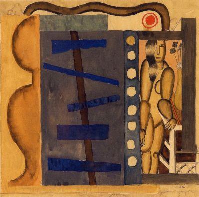Генріх Штренг (Марк Влодарський), Композиція, 1926р. Папір, гуаш, акварель, олівець