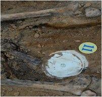 Клеймо на тарілці, віднайденій у розкопі. Фото – Михайло Возняк.