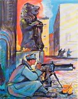 Стрілець біля Ратуші. Малюнок Едварда Козака