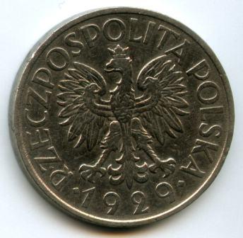 1 злотий 1929 року. Реверс