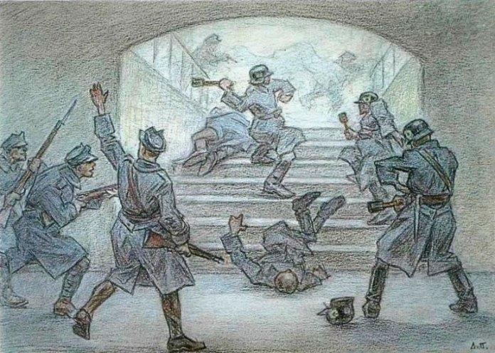 Бій з поляками за залізничний двірець у Львові, листопад 1918 року. Малюнок Леоніда Перфецького
