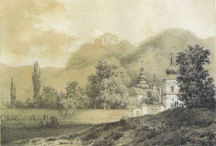 Монастир та замкова гора на літографії Наполеона Орди.