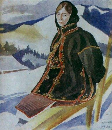Олена Кульчицька. Зимове жіноче вбрання. Гуцульщина, 1933р.