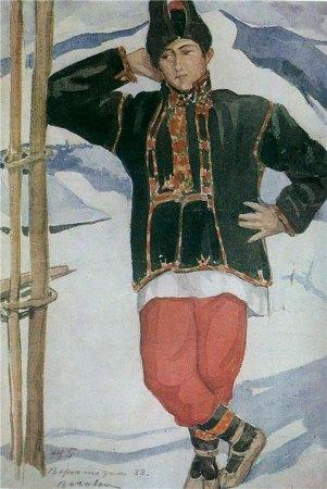 Олена Кульчицька. Зимовий одяг молодого хлопця. Гуцульщина. 1933р.