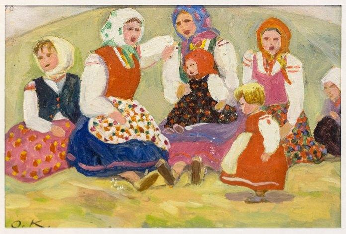 """Олена Кульчицька. Жінки з дітьми. Із циклу """"Тур`є"""". 1928 рік. Папір, олія."""