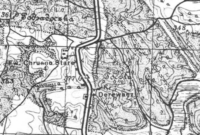 """Ділянка дороги Львів-Миколаїв (""""Кривуля"""") на карті 1926 року"""