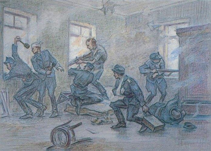 Стрільці у квартирі. Малюнок Леоніда Перфецького.