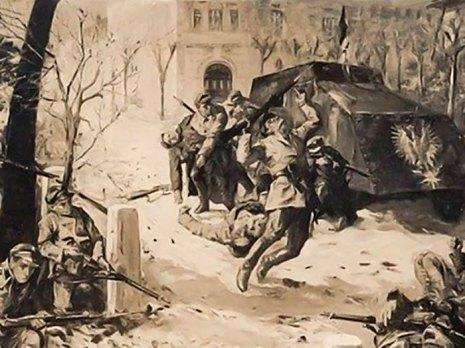 Бій біля парку. Малюнок Едварда Козака