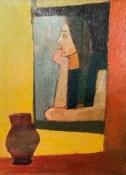 """Леопольд Левицький """"Жінка у вікні"""" (картон, олія) 1960-і роки"""