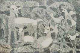 """Леопольд Левицький """"Кози і птахи"""" (папір, літографія) 1960-і роки"""