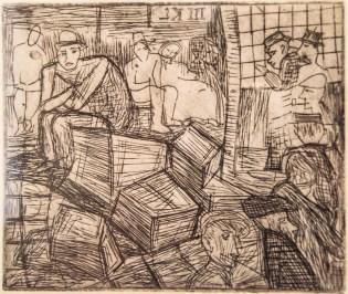 """Леопольд Левицький """"На біржі"""" (папір, офорт, суха голка) 1930-і роки"""