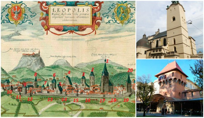 Які будівлі Львова зображено на відомій панорамі Гогенберга?