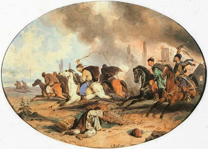 Артур Ґроттґер «Втеча татар», 1855, акварель