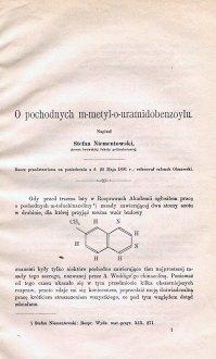 Niementowski St. «O pochodnych m – metyl – o – uramidobenzoylu»