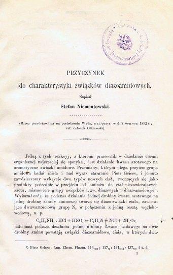 Niementowski S. «Przyczynek do charakterystyki związków diazoamidowych»