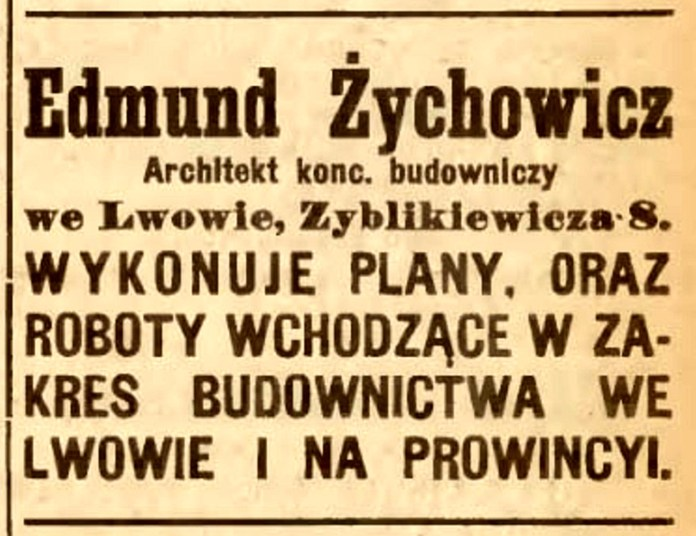 Рекламне оголошення проектно-будівельного підприємства Жиховича у «Gazeta Lwowska», 1920 рік