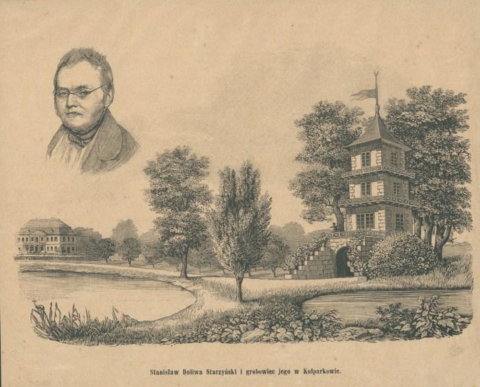 Ілюстрація з підписом «Stanisław Doliwa Starzyński i jego grobowiec w Kulparkowie» 1884 року