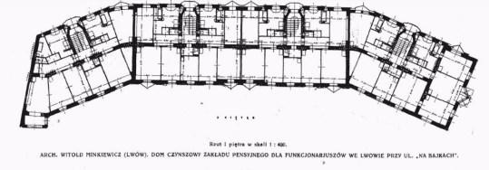 План житлового комплексу № 24-26-28-28 А для працівників Пенсійного закладу на вулиці На Байках (сучасній Київській), 1920-ті роки