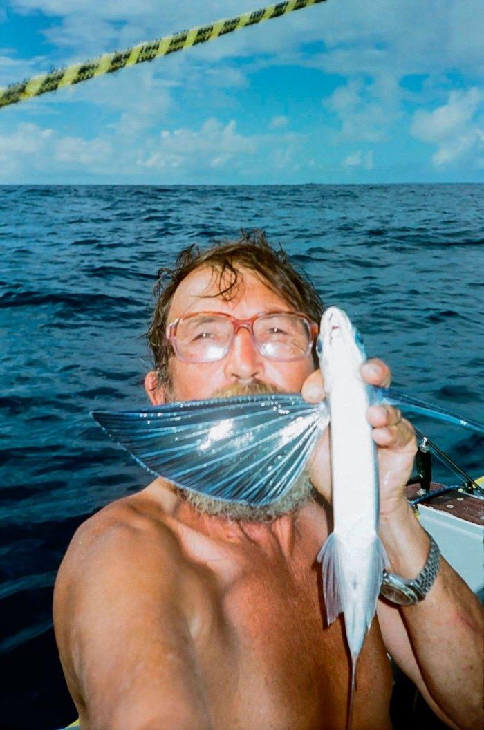 Летюча риба родини Сарганоподібних. Такі риби-ангели практично засипали човен Павла Резвого на його шляху до Карибського моря та слугували приманкою для більшої здобичі. 2004 рік, Атлантика. Фото: П. Резвой.