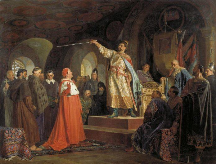 Роман Галицький приймає послів папи Інокентія III. Картина Н. В. Неврева, 1875 рік