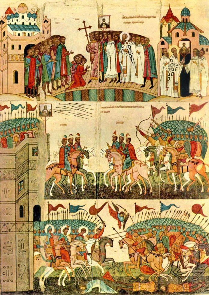 Битва новгородців з суздальцями, Ікона середини XV століття