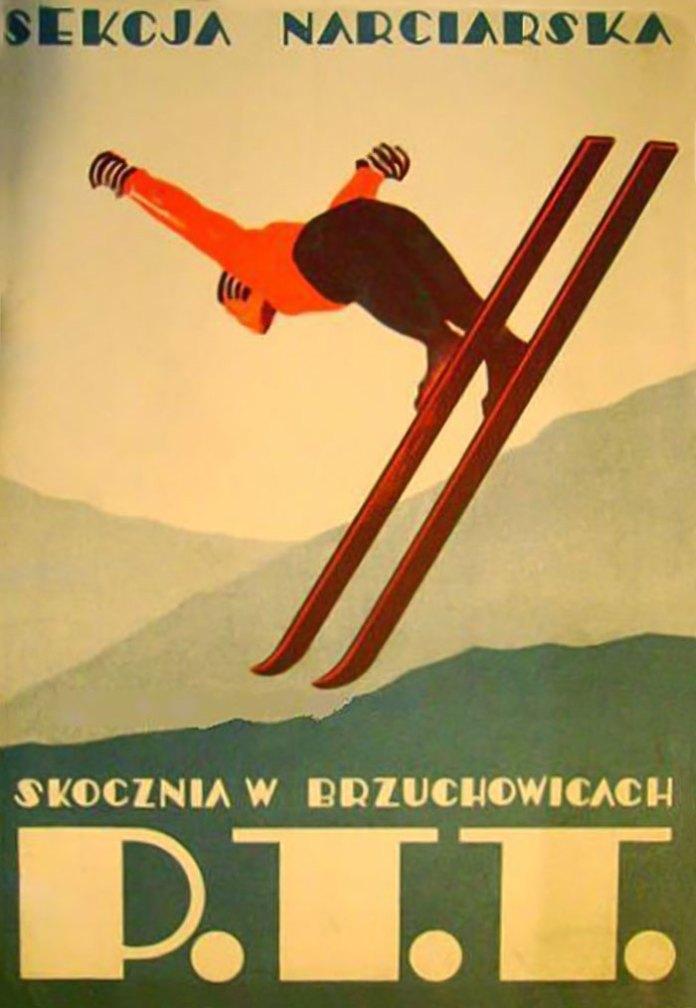 Рекламний плакат трампліну в Брюховичах, 1930-ті роки