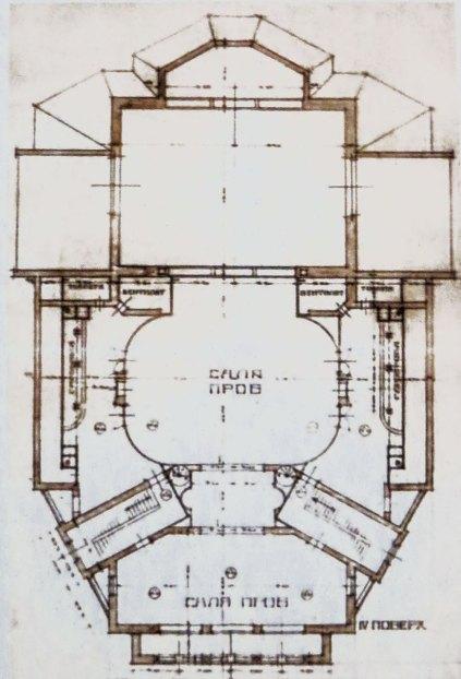 Ескіз проекту театру, підготований групою І. Левинського.Зала.