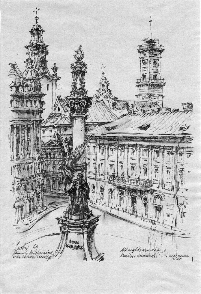 Пам'ятник Адаму Міцкевичу (графіка Веслава Снядецького (Wiesław Śniadecki)
