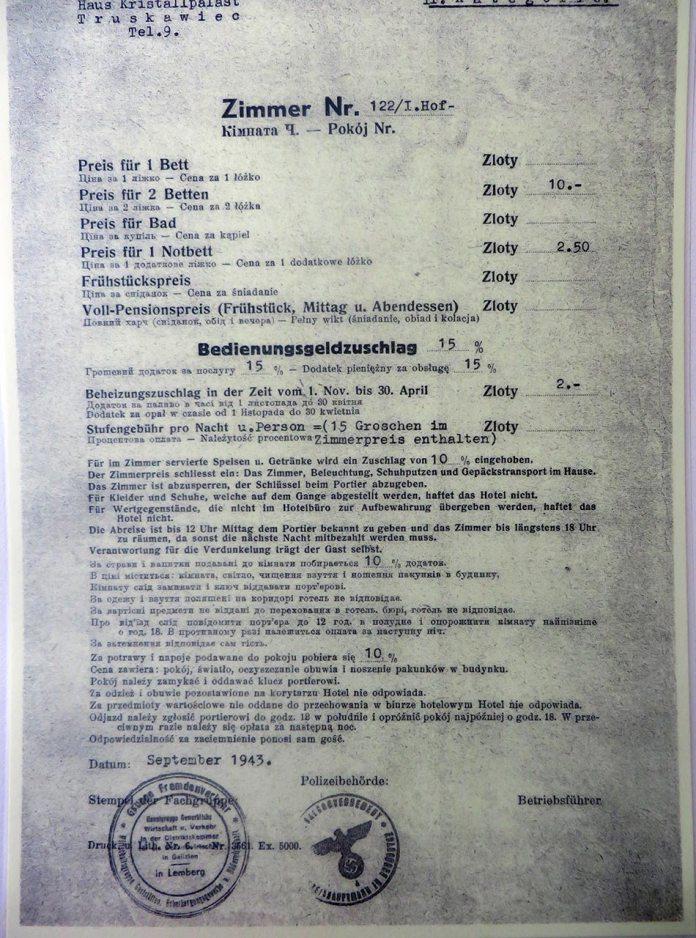 """Трускавець. Путівка на відпочинок в санаторії """"Кришталевий палац"""", 1943"""