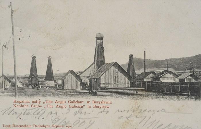 Нафтові вишки в Бориславі. Поштівка 1903 року
