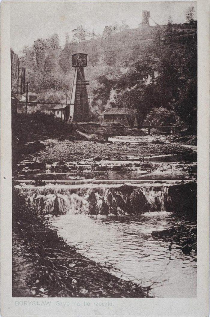 Нафтові вишки в Бориславі, поштівка 1918 року