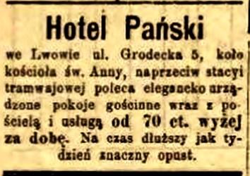 Реклама готелю «Панського» в газеті «Słowo Polskie», 1897 р.