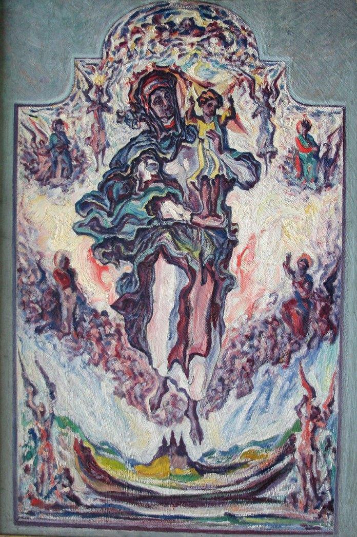 Олекса Новаківський. Мати Милосердя. 1935 р. Фанера, олія.