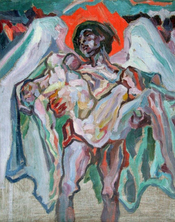 Олекса Новаківський. Ангел смерті. 1923 р. Фанера, олія