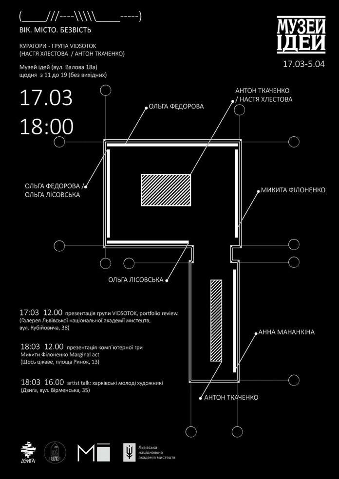 Постер Другої великої виставки робіт кураторської групи VIDSOTOK