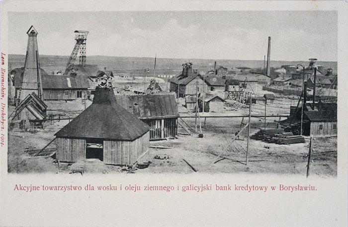 Копальня озокериту Бориславі. Поштівка 1904 року
