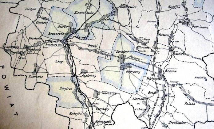 Фрагмент мапи на якому зображені (виділені голубим) об'єднання кредитових спілок Щирецького ключа