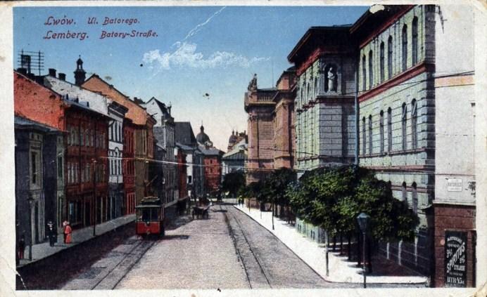 Трамвай на вул. Баторія (зараз – вул. Князя Романа), 1915 р.