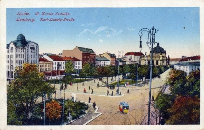 Трамвай на вул. Карла Людвіга (сучасний проспект Свободи, 1916 р.