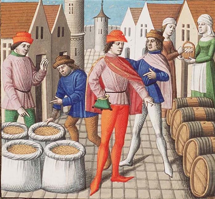 Купці і ремісники. Фото з http://www.museomilano.it/storia-commercio-estero-milano-lombardia-parte-iii-comuni-visconti/