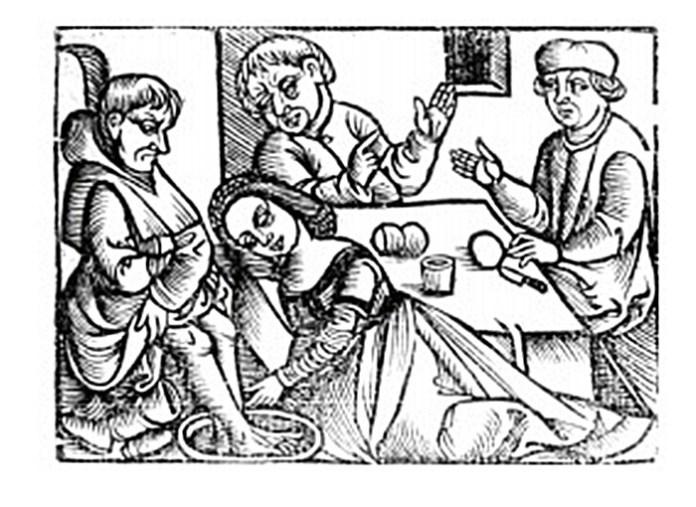 Жінка омиває ноги чоловіку. Гравюра ХVI століття