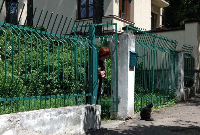 Мар'яна Зубеляк і кіт Зесько біля садиби Станіслава Людкевича