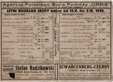 Літній розклад поїздів Любліна 1936 року, у т.ч. через Раву-Руську. Джерело - http://starerozklady.nfshost.com/1919-45.html