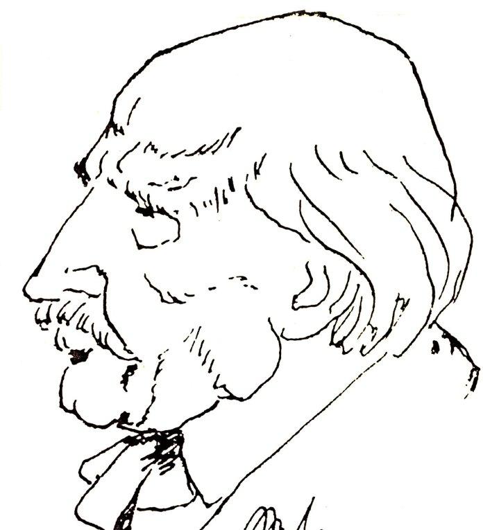 100-літній Людкевич. Шарж Еммануїла Миська, 1979 р.