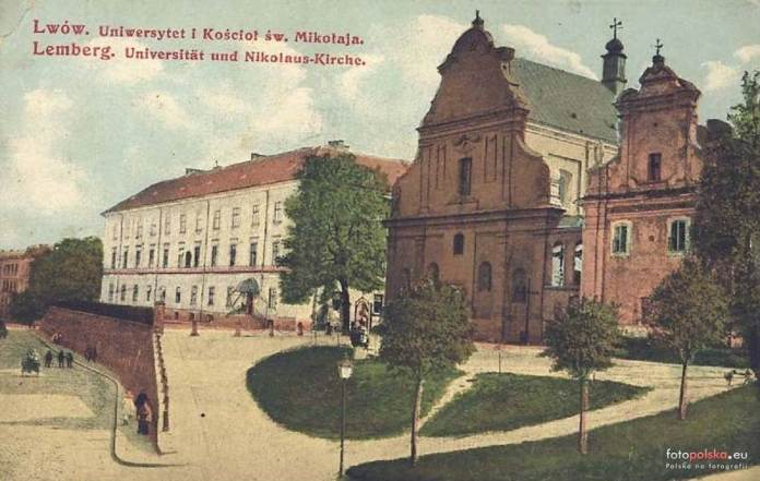 Сторічна липа поблизу костелу святого Миколая та львівського університету, поштівка 1910 року